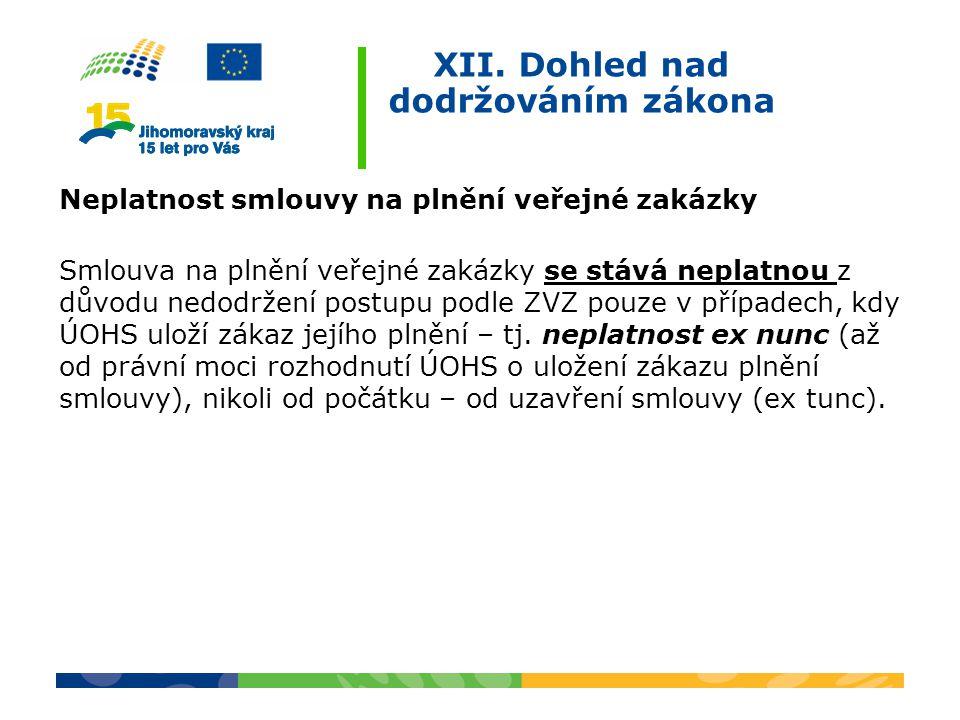 XII. Dohled nad dodržováním zákona Neplatnost smlouvy na plnění veřejné zakázky Smlouva na plnění veřejné zakázky se stává neplatnou z důvodu nedodrže