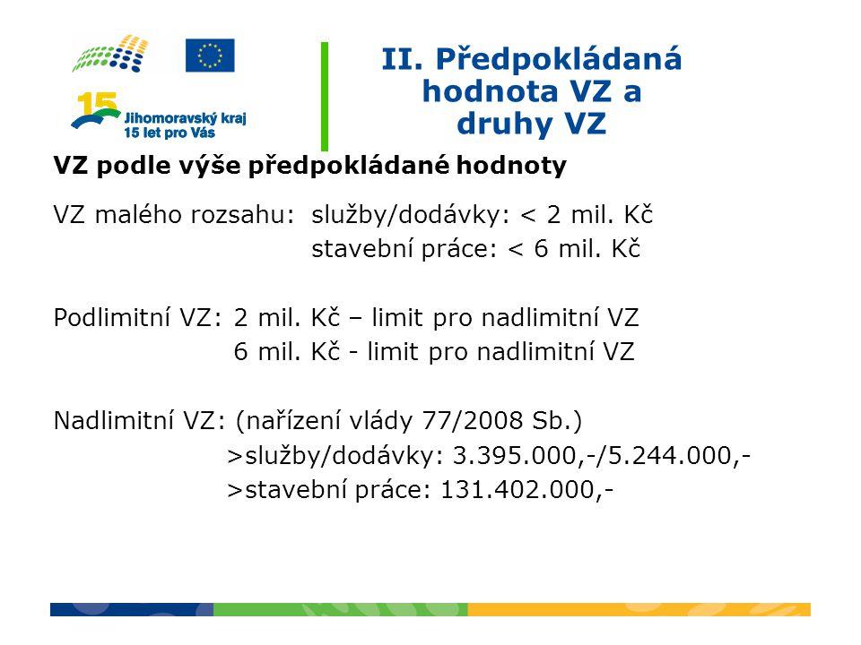 II. Předpokládaná hodnota VZ a druhy VZ VZ podle výše předpokládané hodnoty VZ malého rozsahu:služby/dodávky: < 2 mil. Kč stavební práce: < 6 mil. Kč