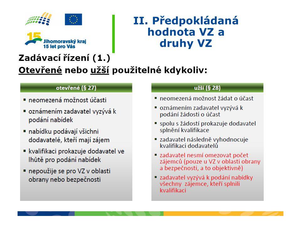 II. Předpokládaná hodnota VZ a druhy VZ Zadávací řízení (1.) Otevřené nebo užší použitelné kdykoliv:
