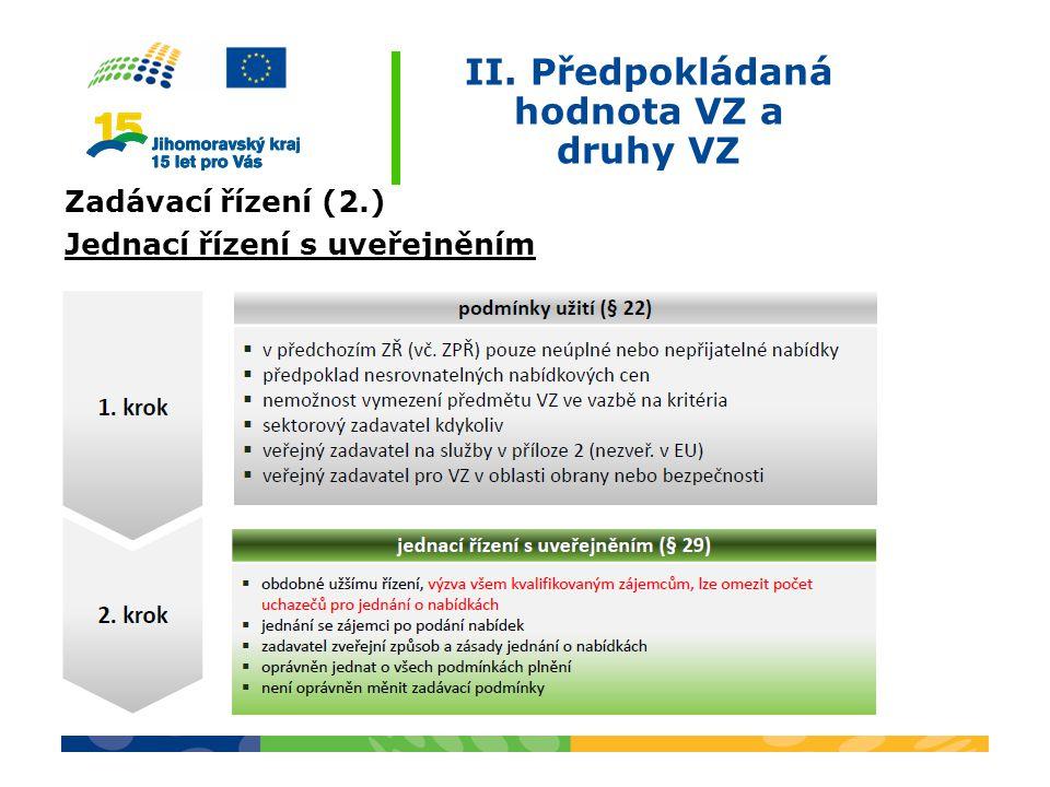 II. Předpokládaná hodnota VZ a druhy VZ Zadávací řízení (2.) Jednací řízení s uveřejněním