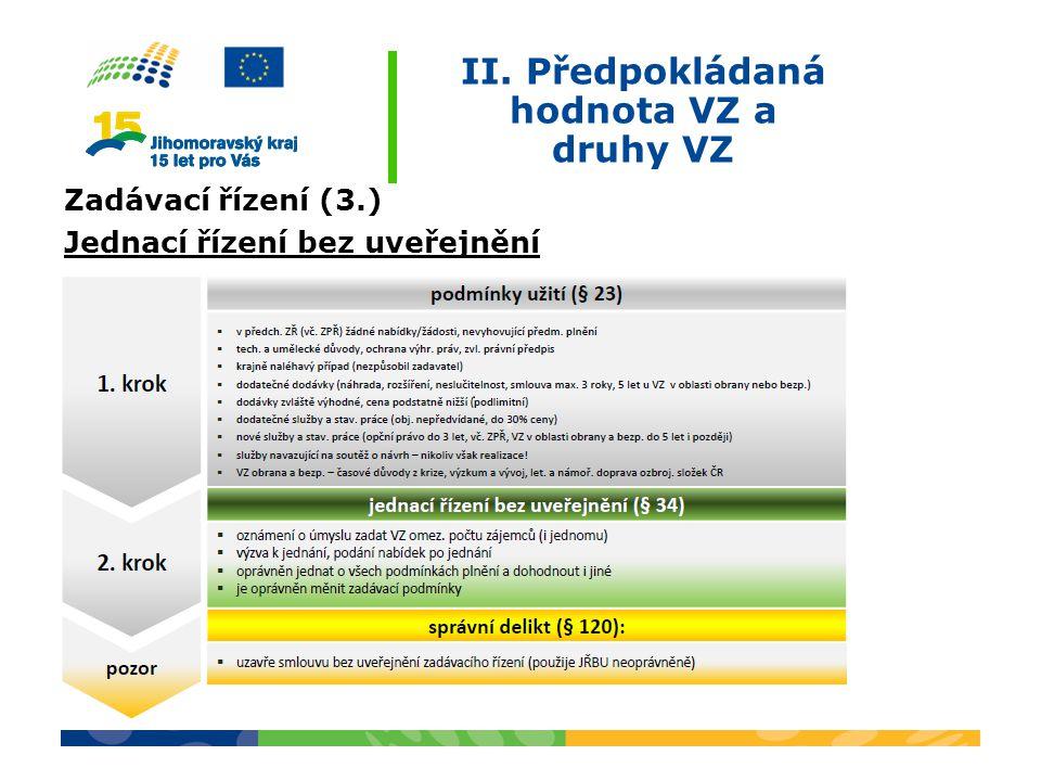 II. Předpokládaná hodnota VZ a druhy VZ Zadávací řízení (3.) Jednací řízení bez uveřejnění
