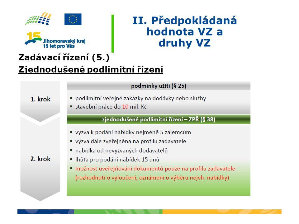 II. Předpokládaná hodnota VZ a druhy VZ Zadávací řízení (5.) Zjednodušené podlimitní řízení