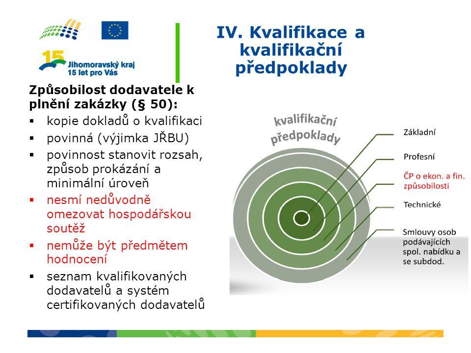 IV. Kvalifikace a kvalifikační předpoklady Způsobilost dodavatele k plnění zakázky (§ 50):  kopie dokladů o kvalifikaci  povinná (výjimka JŘBU)  po