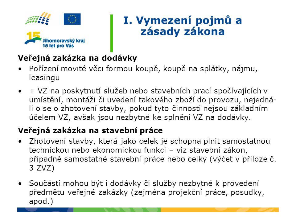I. Vymezení pojmů a zásady zákona Veřejná zakázka na dodávky Pořízení movité věci formou koupě, koupě na splátky, nájmu, leasingu + VZ na poskytnutí s
