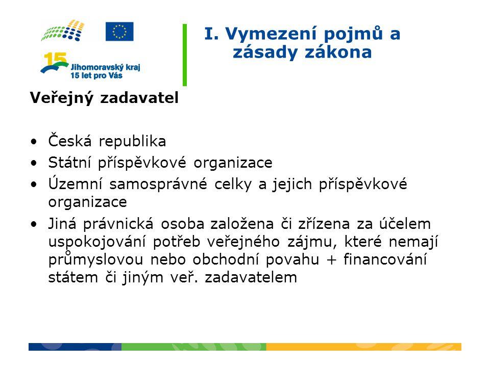I. Vymezení pojmů a zásady zákona Veřejný zadavatel Česká republika Státní příspěvkové organizace Územní samosprávné celky a jejich příspěvkové organi