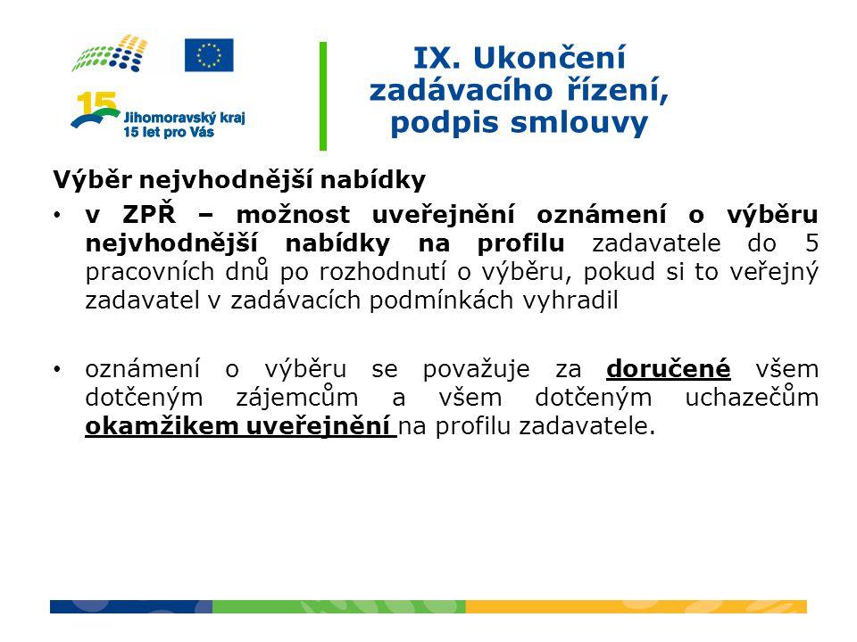 IX. Ukončení zadávacího řízení, podpis smlouvy Výběr nejvhodnější nabídky v ZPŘ – možnost uveřejnění oznámení o výběru nejvhodnější nabídky na profilu