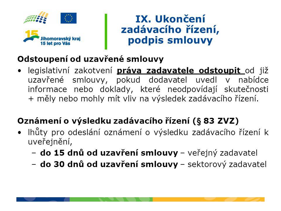 IX. Ukončení zadávacího řízení, podpis smlouvy Odstoupení od uzavřené smlouvy legislativní zakotvení práva zadavatele odstoupit od již uzavřené smlouv