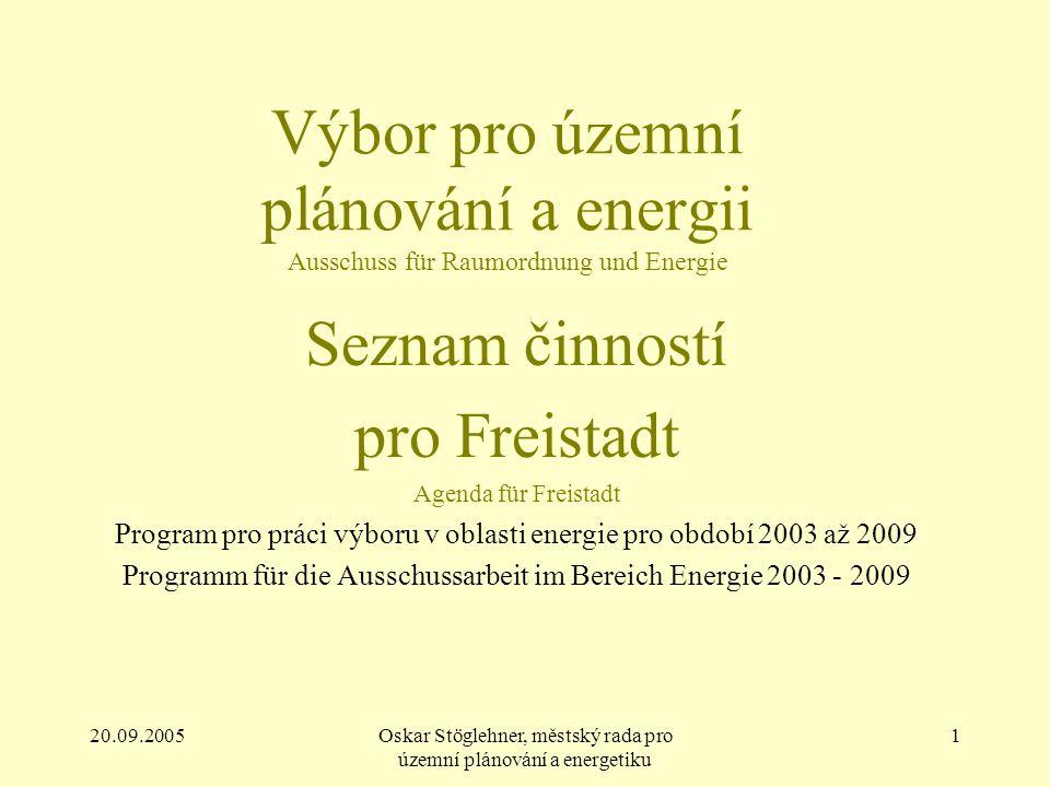 20.09.2005Oskar Stöglehner, městský rada pro územní plánování a energetiku 1 Výbor pro územní plánování a energii Ausschuss für Raumordnung und Energi
