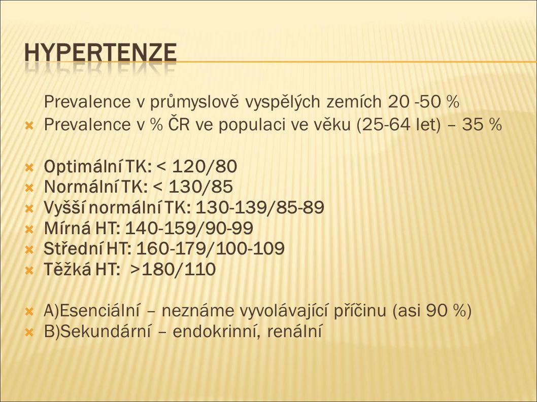 Prevalence v průmyslově vyspělých zemích 20 -50 %  Prevalence v % ČR ve populaci ve věku (25-64 let) – 35 %  Optimální TK: < 120/80  Normální TK: < 130/85  Vyšší normální TK: 130-139/85-89  Mírná HT: 140-159/90-99  Střední HT: 160-179/100-109  Těžká HT: >180/110  A)Esenciální – neznáme vyvolávající příčinu (asi 90 %)  B)Sekundární – endokrinní, renální