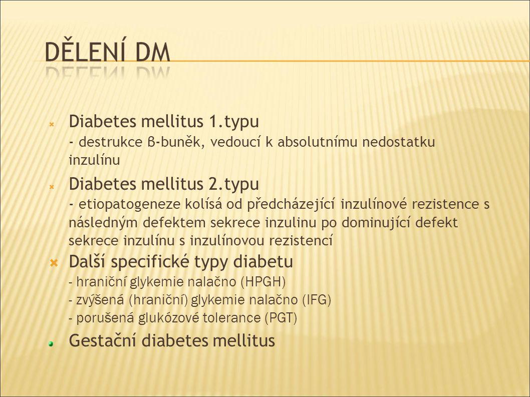  Diabetes mellitus 1.typu - destrukce β-buněk, vedoucí k absolutnímu nedostatku inzulínu  Diabetes mellitus 2.typu - etiopatogeneze kolísá od předcházející inzulínové rezistence s následným defektem sekrece inzulinu po dominující defekt sekrece inzulínu s inzulínovou rezistencí  Další specifické typy diabetu - hraniční glykemie nalačno (HPGH) - zvýšená (hraniční) glykemie nalačno (IFG) - porušená glukózové tolerance (PGT) Gestační diabetes mellitus