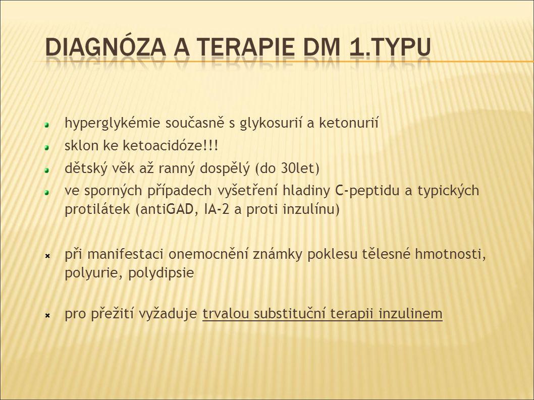 hyperglykémie současně s glykosurií a ketonurií sklon ke ketoacidóze!!.