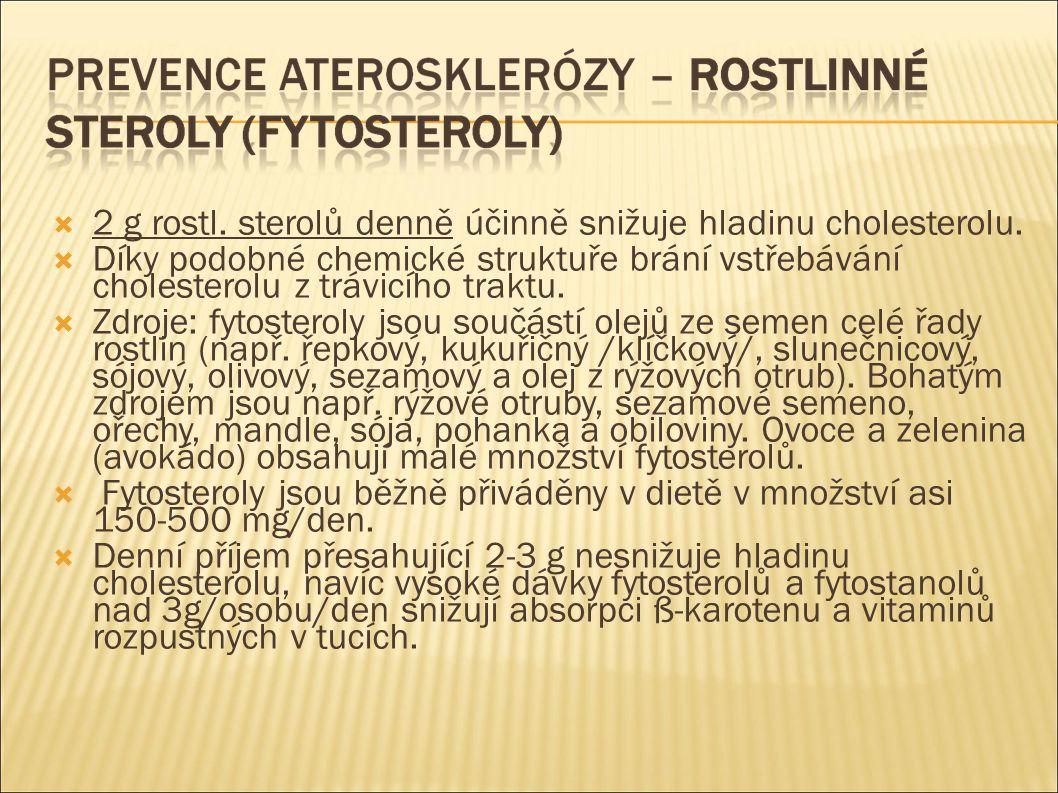  2 g rostl. sterolů denně účinně snižuje hladinu cholesterolu.