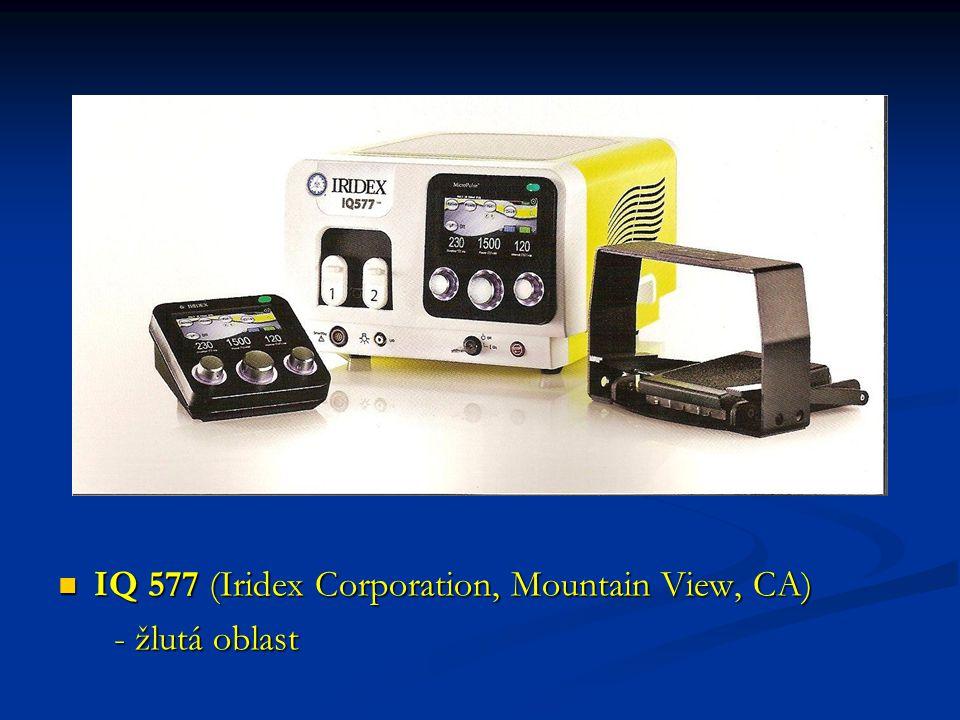 IQ 577 (Iridex Corporation, Mountain View, CA) - žlutá oblast