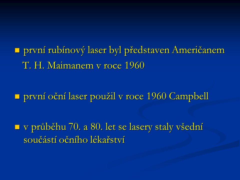 první rubínový laser byl představen Američanem první rubínový laser byl představen Američanem T. H. Maimanem v roce 1960 T. H. Maimanem v roce 1960 pr