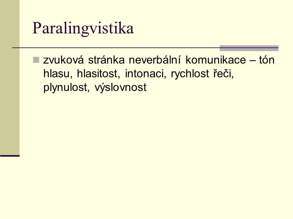 Paralingvistika zvuková stránka neverbální komunikace – tón hlasu, hlasitost, intonaci, rychlost řeči, plynulost, výslovnost