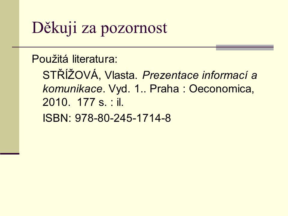 Děkuji za pozornost Použitá literatura: STŘÍŽOVÁ, Vlasta. Prezentace informací a komunikace. Vyd. 1.. Praha : Oeconomica, 2010. 177 s. : il. ISBN: 978