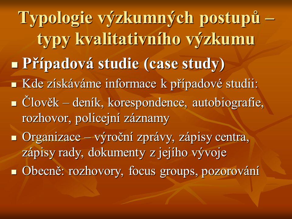 Typologie výzkumných postupů – typy kvalitativního výzkumu Případová studie (case study) Případová studie (case study) Kde získáváme informace k přípa