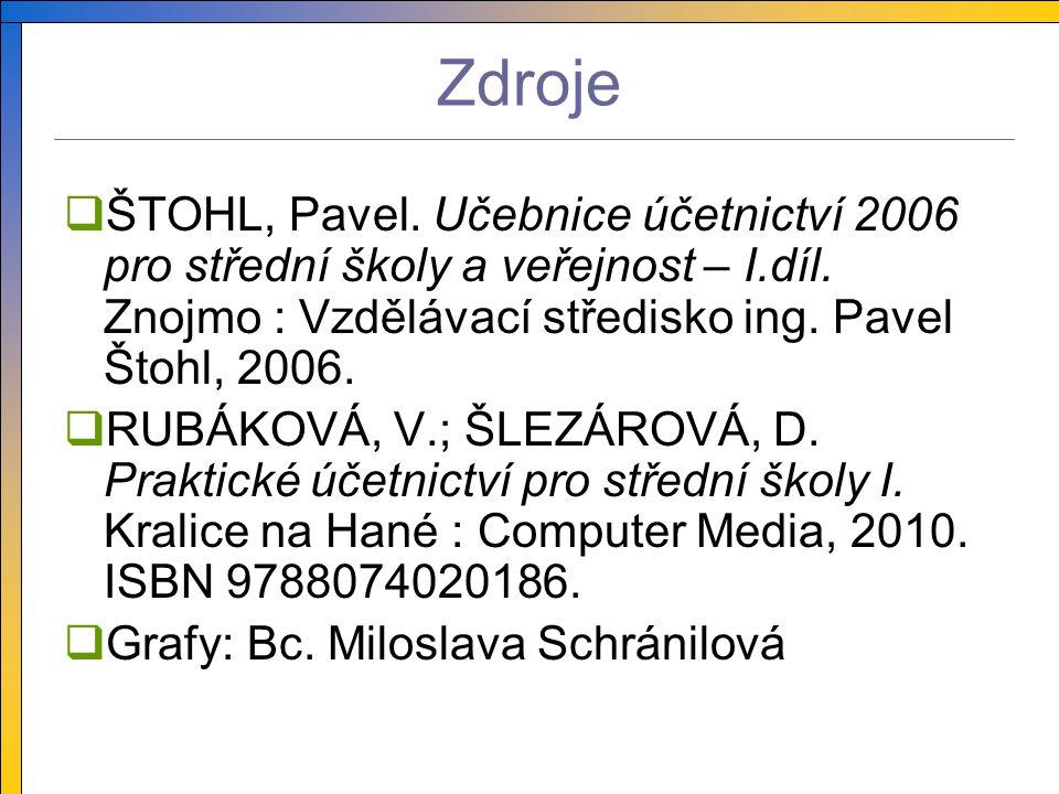 Zdroje  ŠTOHL, Pavel. Učebnice účetnictví 2006 pro střední školy a veřejnost – I.díl.