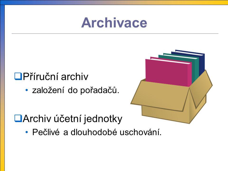 Archivace PPříruční archiv založení do pořadačů. AArchiv účetní jednotky Pečlivé a dlouhodobé uschování.