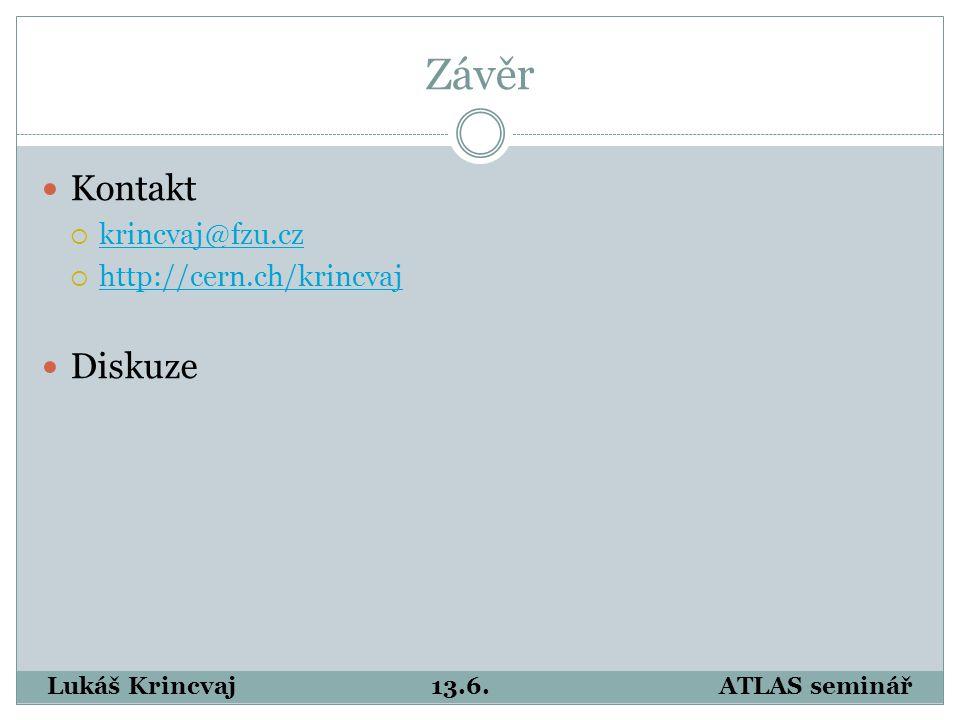 Závěr Kontakt  krincvaj@fzu.cz krincvaj@fzu.cz  http://cern.ch/krincvaj http://cern.ch/krincvaj Diskuze Lukáš Krincvaj13.6.ATLAS seminář
