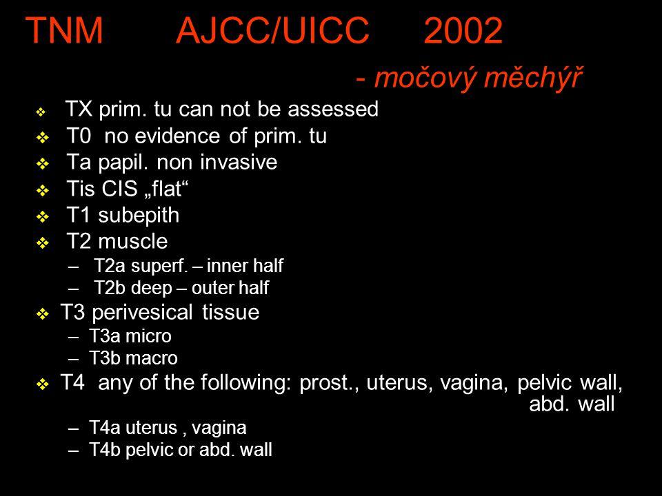 TNM AJCC/UICC 2002 - močový měchýř v TX prim.tu can not be assessed v T0 no evidence of prim.