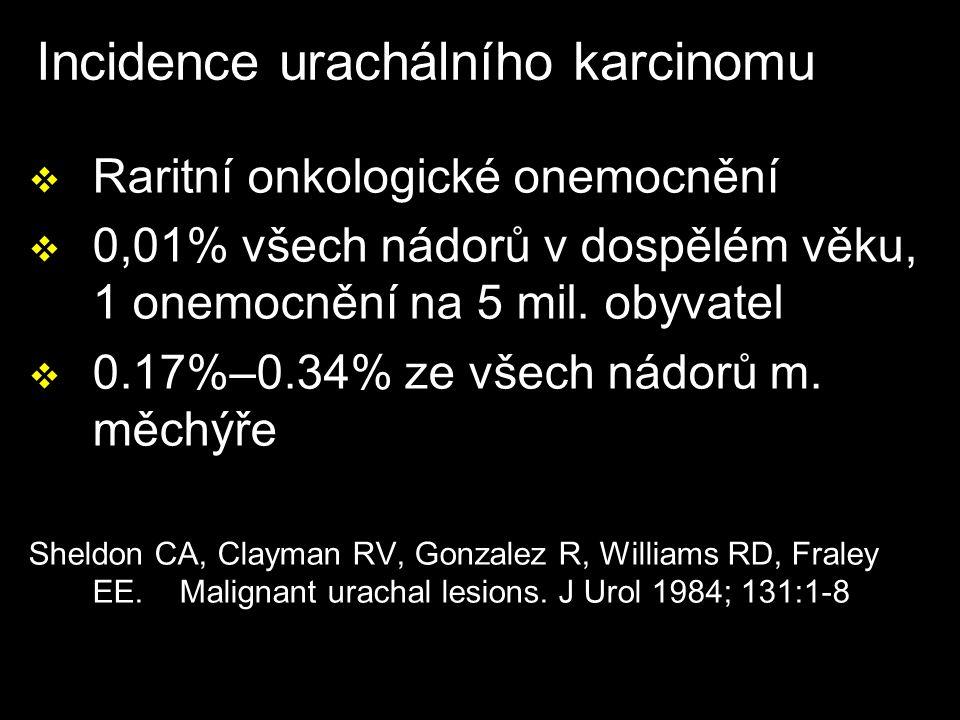 Incidence urachálního karcinomu v Raritní onkologické onemocnění v 0,01% všech nádorů v dospělém věku, 1 onemocnění na 5 mil.