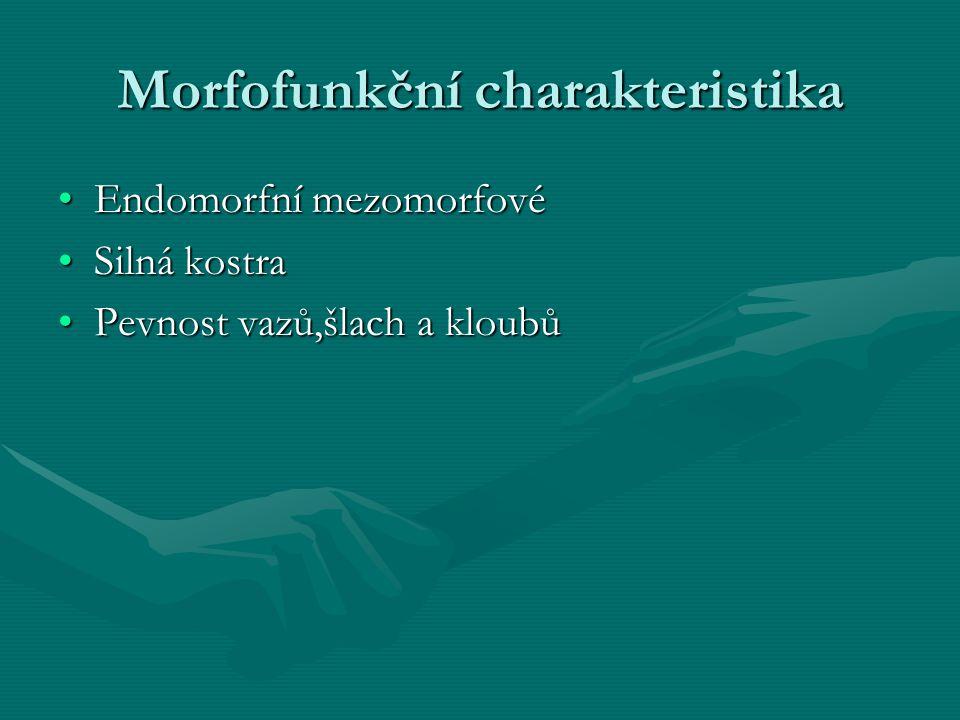 Morfofunkční charakteristika Endomorfní mezomorfovéEndomorfní mezomorfové Silná kostraSilná kostra Pevnost vazů,šlach a kloubůPevnost vazů,šlach a kloubů