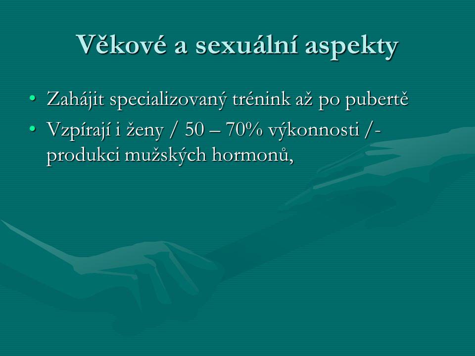 Věkové a sexuální aspekty Zahájit specializovaný trénink až po pubertěZahájit specializovaný trénink až po pubertě Vzpírají i ženy / 50 – 70% výkonnosti /- produkci mužských hormonů,Vzpírají i ženy / 50 – 70% výkonnosti /- produkci mužských hormonů,