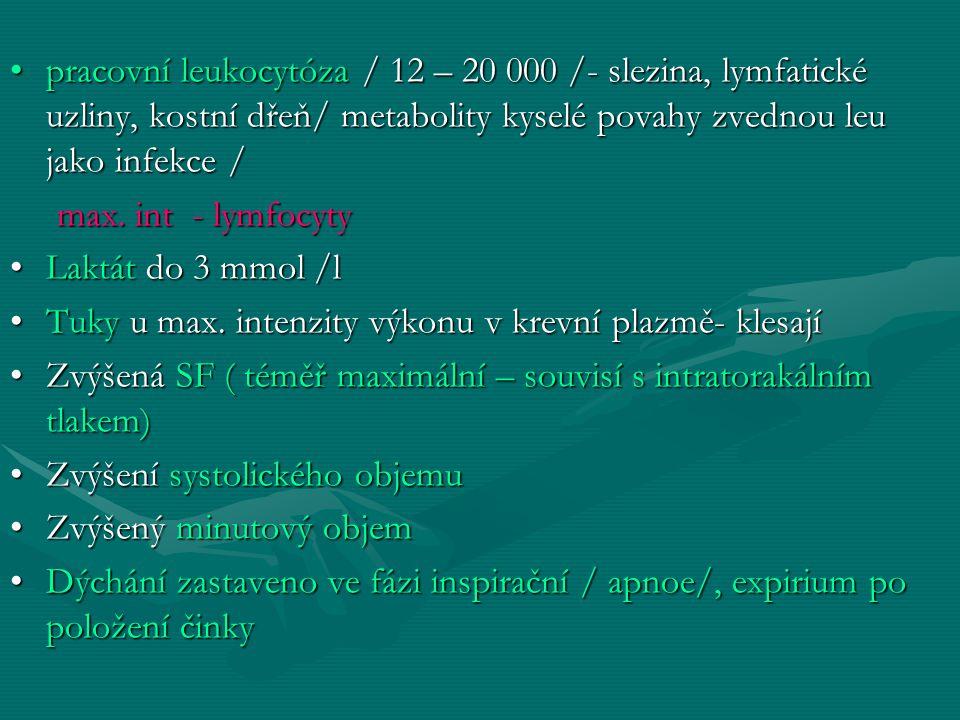 pracovní leukocytóza / 12 – 20 000 /- slezina, lymfatické uzliny, kostní dřeň/ metabolity kyselé povahy zvednou leu jako infekce /pracovní leukocytóza / 12 – 20 000 /- slezina, lymfatické uzliny, kostní dřeň/ metabolity kyselé povahy zvednou leu jako infekce / max.