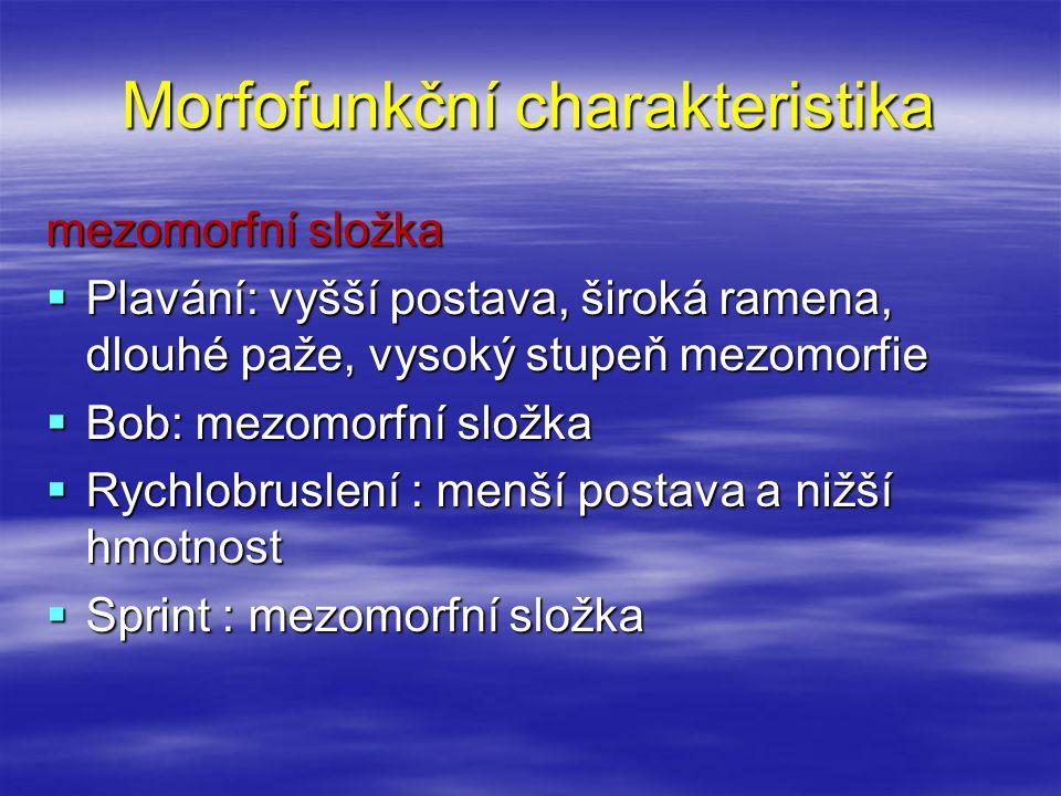 Morfofunkční charakteristika mezomorfní složka  Plavání: vyšší postava, široká ramena, dlouhé paže, vysoký stupeň mezomorfie  Bob: mezomorfní složka