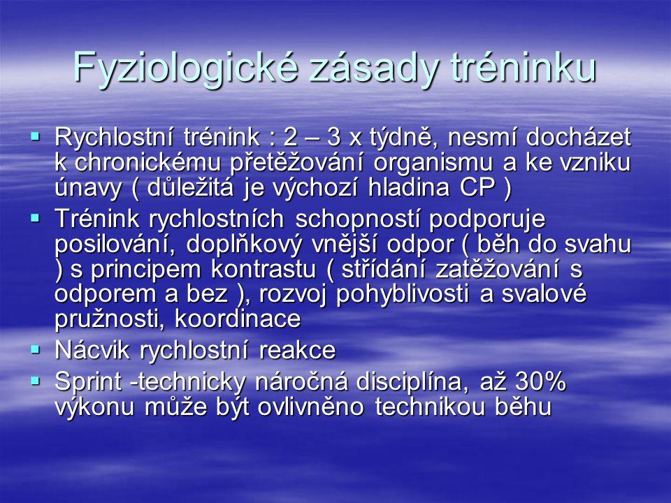 Fyziologické zásady tréninku  Rychlostní trénink : 2 – 3 x týdně, nesmí docházet k chronickému přetěžování organismu a ke vzniku únavy ( důležitá je
