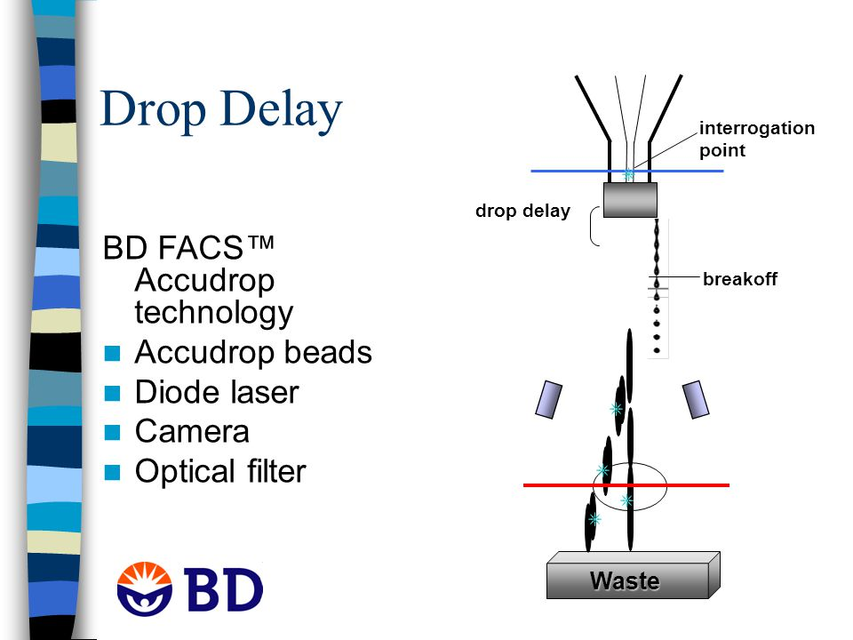 Drop Delay interrogation point drop delay breakoff Waste BD FACS™ Accudrop technology Accudrop beads Diode laser Camera Optical filter