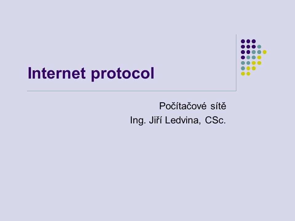 Internet protocol Počítačové sítě Ing. Jiří Ledvina, CSc.