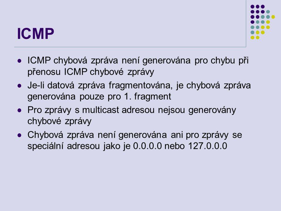 ICMP ICMP chybová zpráva není generována pro chybu při přenosu ICMP chybové zprávy Je-li datová zpráva fragmentována, je chybová zpráva generována pouze pro 1.