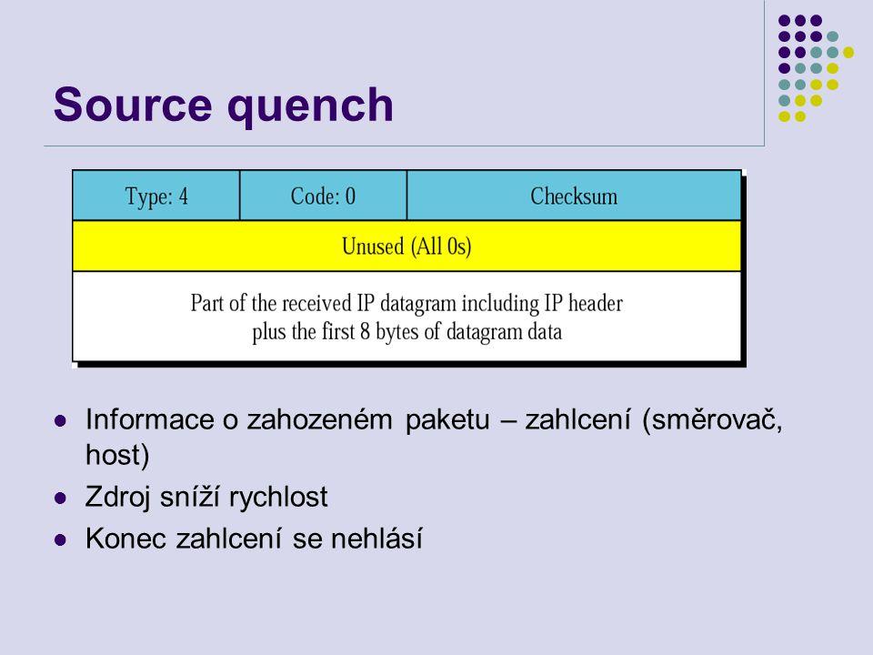 Source quench Informace o zahozeném paketu – zahlcení (směrovač, host) Zdroj sníží rychlost Konec zahlcení se nehlásí