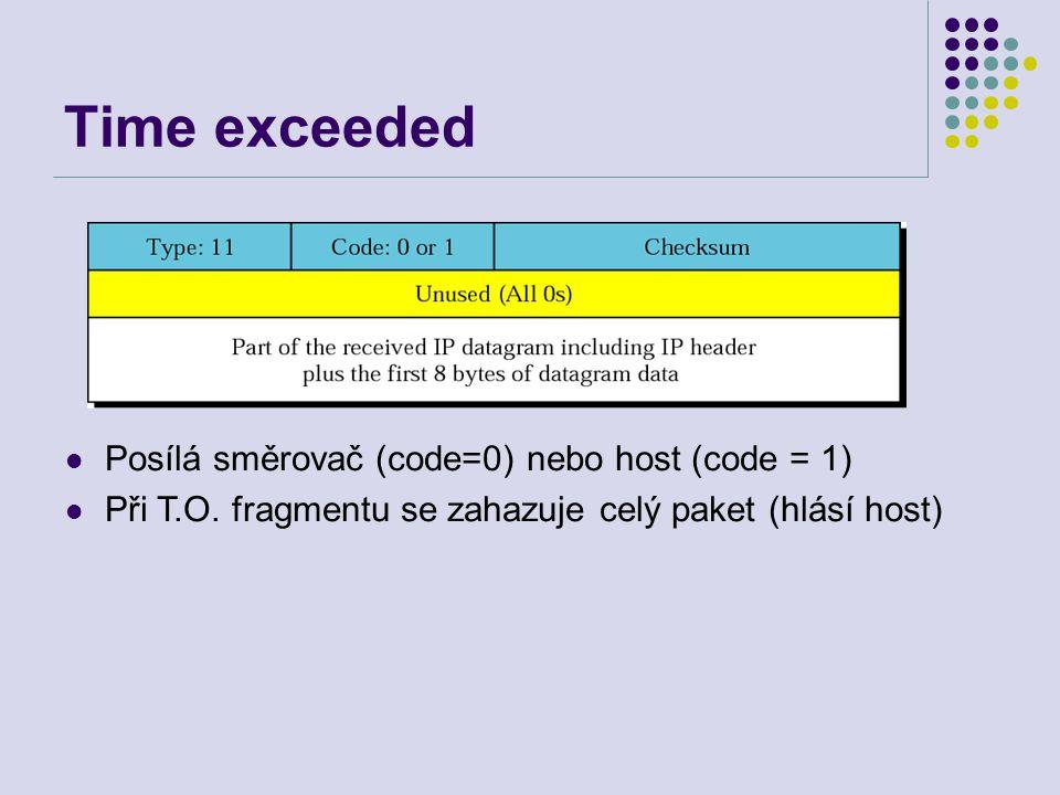 Time exceeded Posílá směrovač (code=0) nebo host (code = 1) Při T.O.
