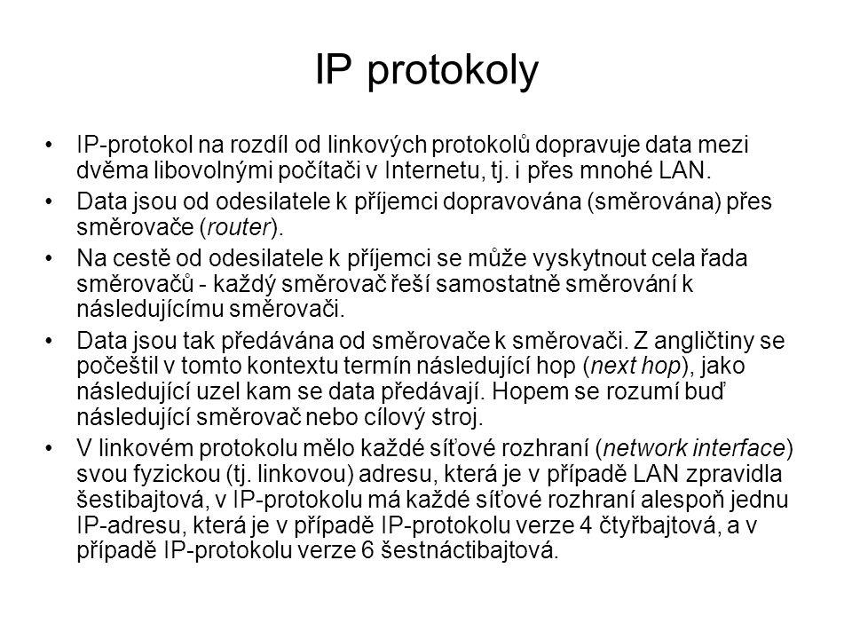 IP protokoly IP-protokol na rozdíl od linkových protokolů dopravuje data mezi dvěma libovolnými počítači v Internetu, tj. i přes mnohé LAN. Data jsou