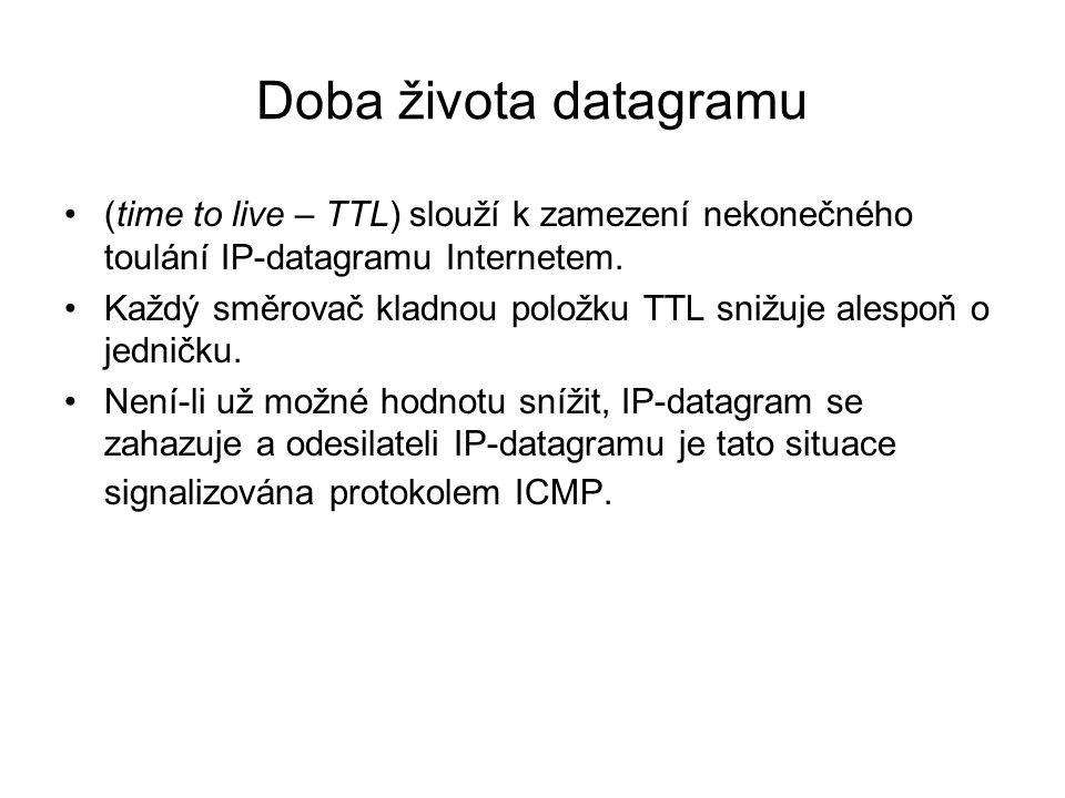 Doba života datagramu (time to live – TTL) slouží k zamezení nekonečného toulání IP-datagramu Internetem. Každý směrovač kladnou položku TTL snižuje a
