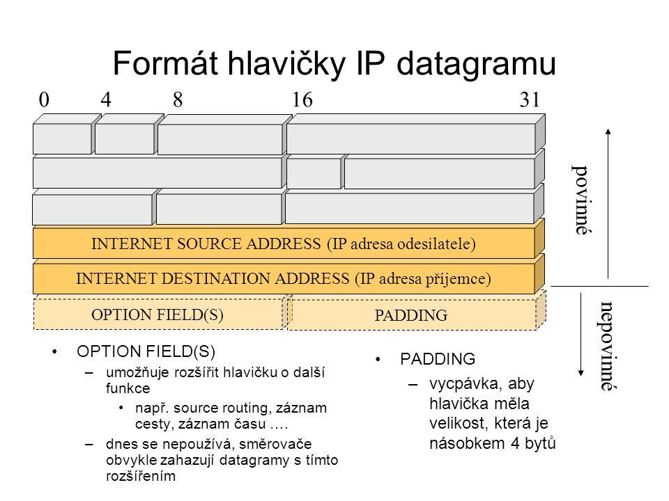 OPTION FIELD(S) PADDING Formát hlavičky IP datagramu OPTION FIELD(S) –umožňuje rozšířit hlavičku o další funkce např. source routing, záznam cesty, zá