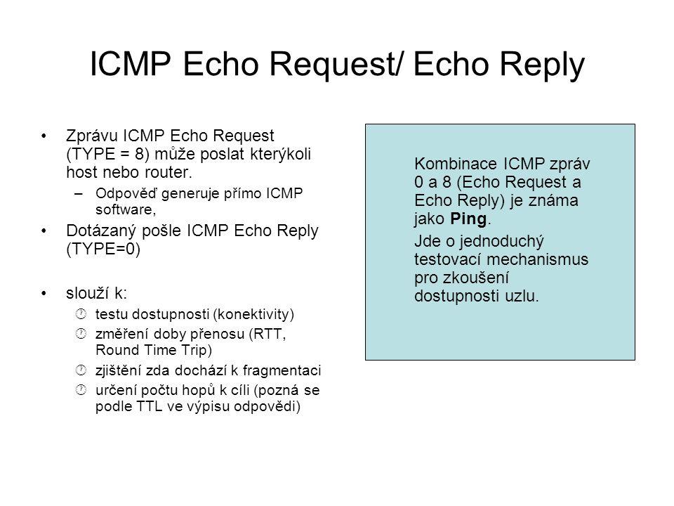 ICMP Echo Request/ Echo Reply Zprávu ICMP Echo Request (TYPE = 8) může poslat kterýkoli host nebo router. –Odpověď generuje přímo ICMP software, Dotáz
