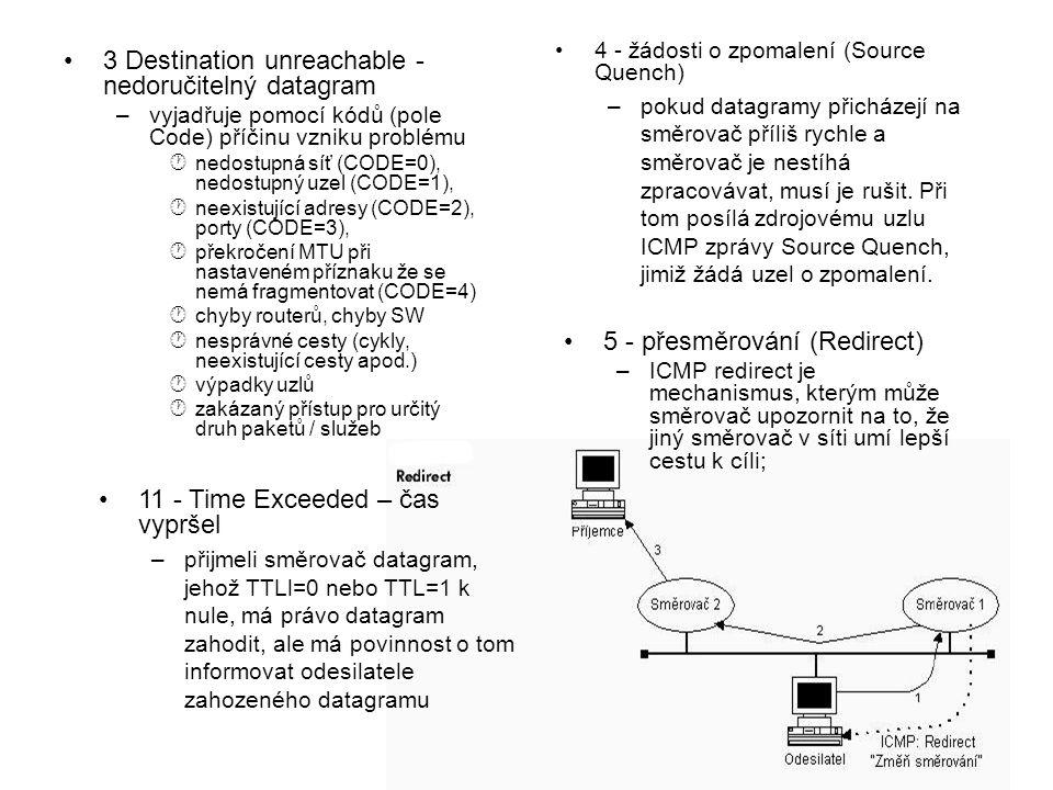 3 Destination unreachable - nedoručitelný datagram –vyjadřuje pomocí kódů (pole Code) příčinu vzniku problému ·nedostupná síť (CODE=0), nedostupný uze