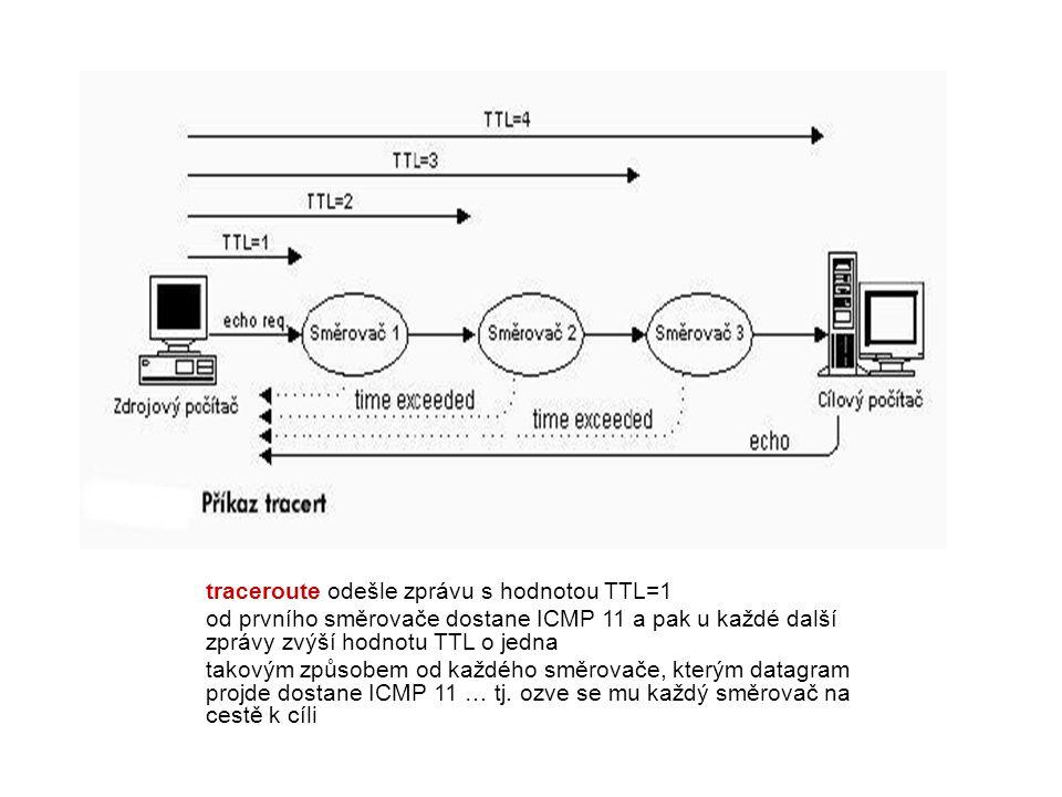 traceroute odešle zprávu s hodnotou TTL=1 od prvního směrovače dostane ICMP 11 a pak u každé další zprávy zvýší hodnotu TTL o jedna takovým způsobem o