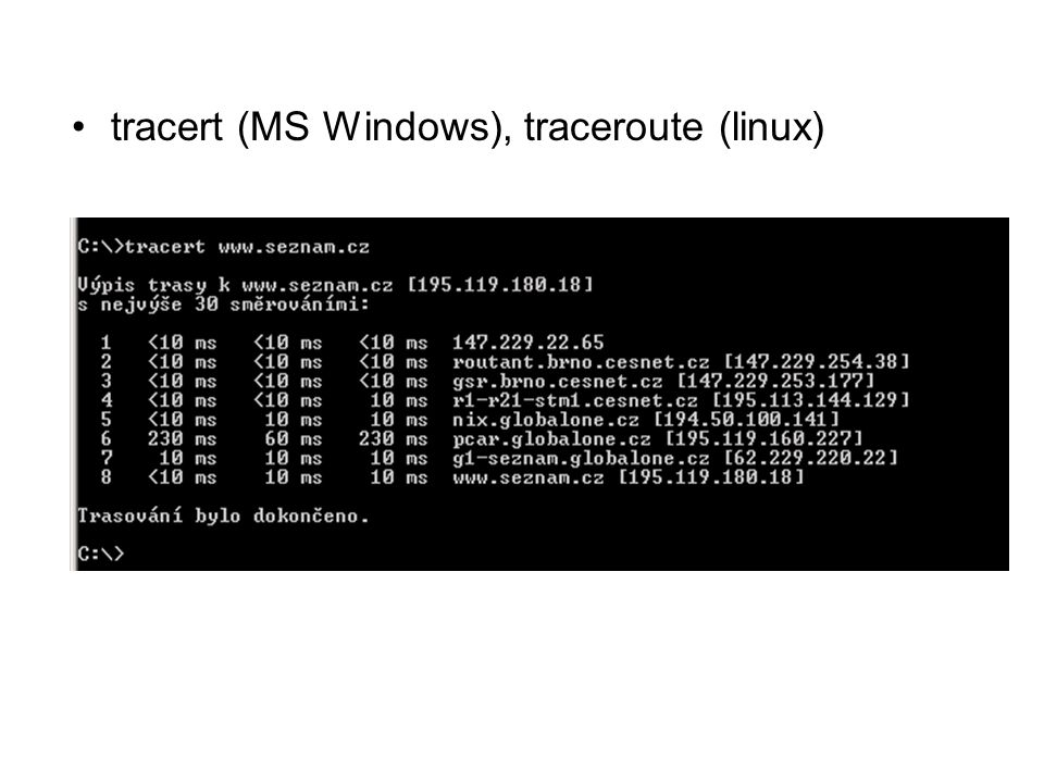tracert (MS Windows), traceroute (linux)