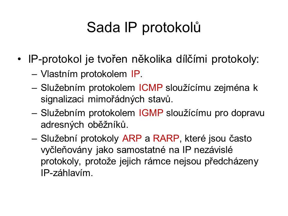 Sada IP protokolů IP-protokol je tvořen několika dílčími protokoly: –Vlastním protokolem IP. –Služebním protokolem ICMP sloužícímu zejména k signaliza