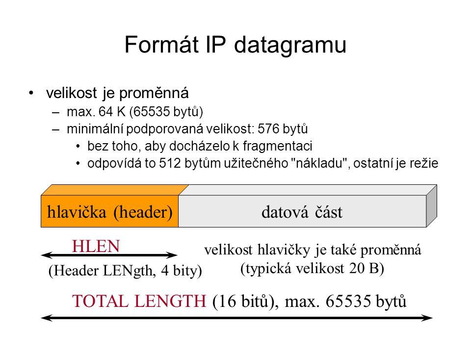 ICMP message (závisí na druhu zprávy) TYPE Formát ICMP paketu TYPE: určuje druh ICMP zprávy ·0 Echo reply (odpověď na požadavek, při PINGu) ·3 Destination unreachable (nedoručitelný datagram ) ·4 Source Quench ( žádosti o zpomalení) ·5 Redirect (přesměrování) ·6 Alternate host address ·8 Echo Request ·9 Router Advertisement ·10 Router Selection ·11 Time Exceeded (čas vypršel) ·12 Parameter Problem ·13 Timestamp Request ·14 Timestamp Reply ·15 Information Request ·16 Information Reply ·17 Address Mask Request ·18 Address Mask Reply ·…… ·30 Traceroute ·….