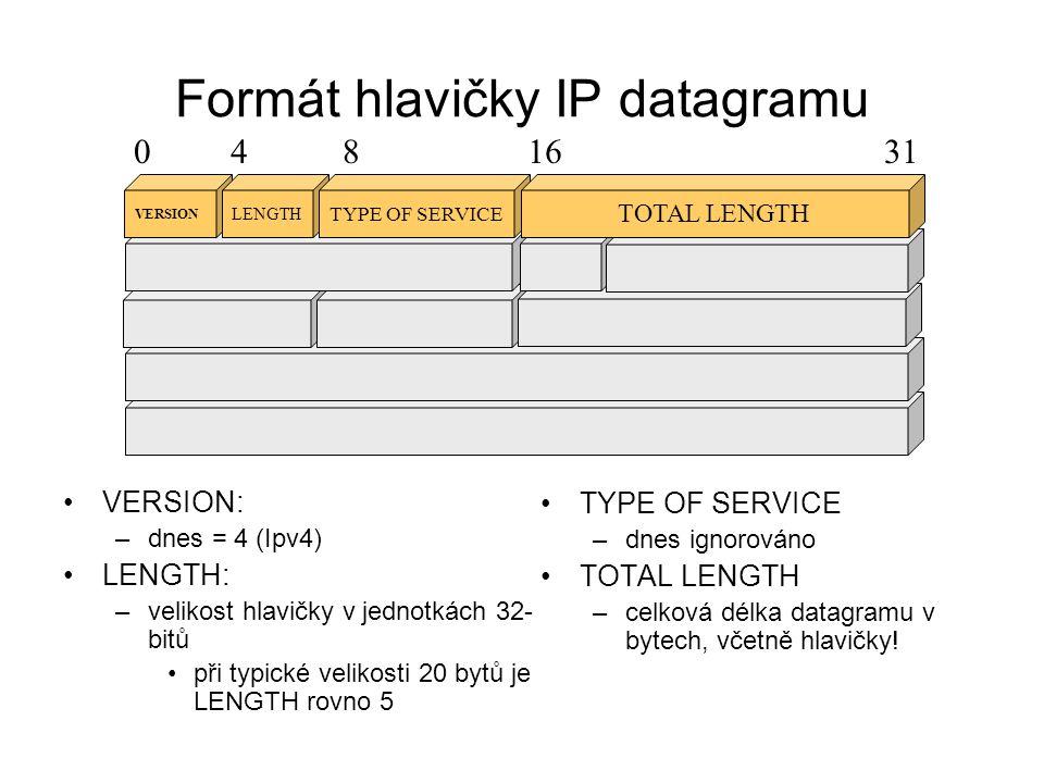 Formát hlavičky IP datagramu IDENTIFICATION –slouží potřebám fragmentace všechny fragmenty ze stejného celku mají v této položce stejnou hodnotu podle toho se pozná že patří k sobě FRAGMENTATION OFFSET –offset fragmentu dat od začátku původního celku IDENTIFICATION FLAG S FRAGMENTATION OFFSET 0481631 0 DON´T FRAGMENTMORE FRAGMENTS 1=nefragmentuj1=jsou ještě další fragm.
