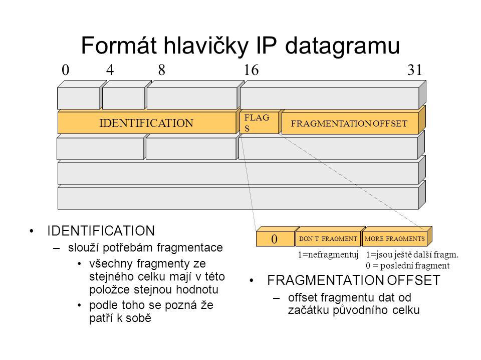 Formát hlavičky IP datagramu TTL (Time To Live) –čítač průchodů přes směrovače HEADER CHECKSUM –kontrolní součet hlavičky (!!) PROTOCOL –udává typ užitečného nákladu, kterému protokolu patří - kterému protokolu vyšší vrstvy ho má předat): 1 = ICMP 6 = TCP 17 = UDP …..