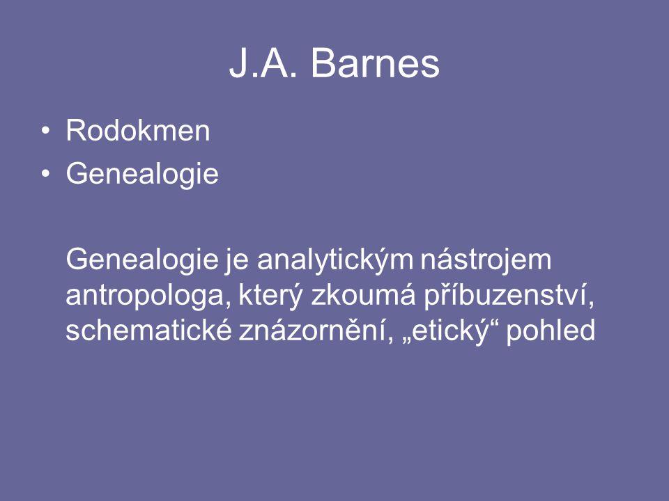 """J.A. Barnes Rodokmen Genealogie Genealogie je analytickým nástrojem antropologa, který zkoumá příbuzenství, schematické znázornění, """"etický"""" pohled"""