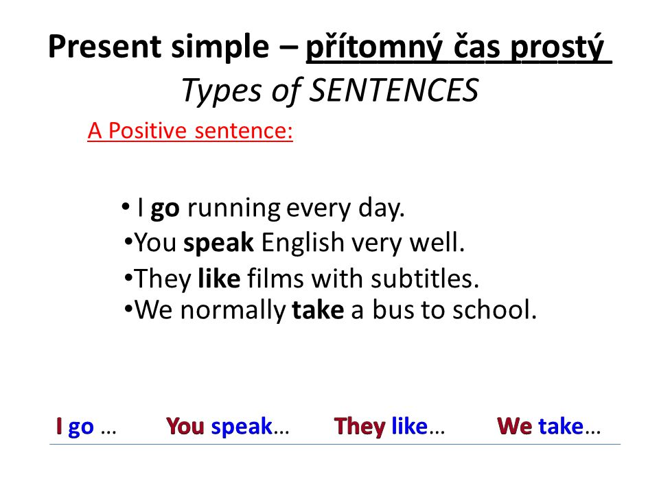 Present simple – _________________ Types of SENTENCES APositive sentence: I go running every day.