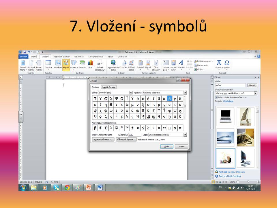 7. Vložení - symbolů